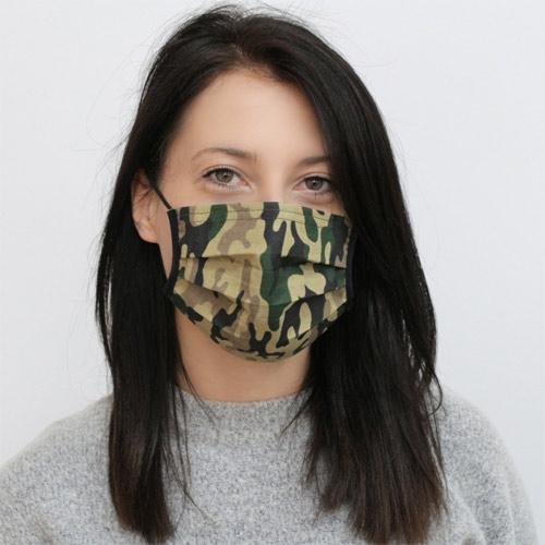 Katoenen mondmasker legerprint
