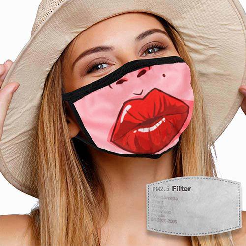 Mondkapje met filter en lippen