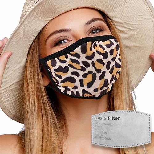 Mondkapje met filter en panterprint