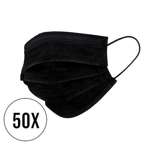3 laags mondmasker 50 stuks niet medisch zwart