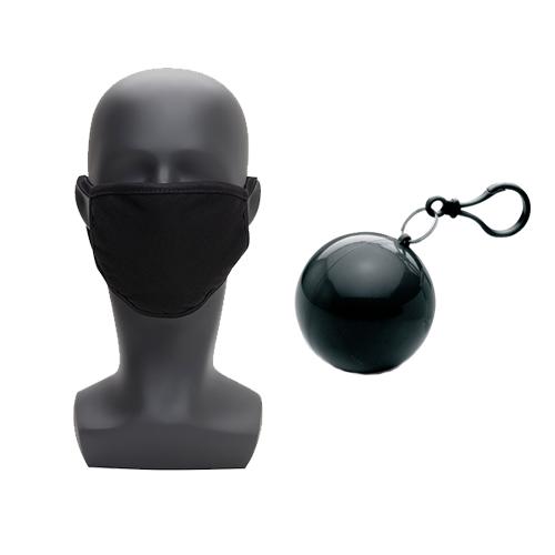 Mondkapje met opbergbal zwart