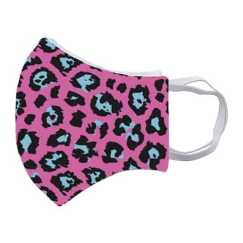 Gezichtsmasker met roze panterprint zij