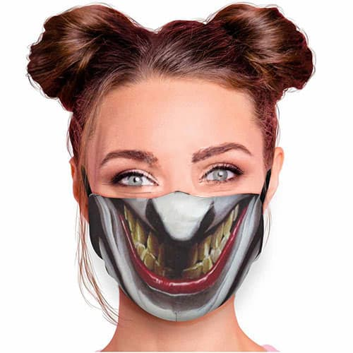 Verstelbaar mondkapje met print bad smile