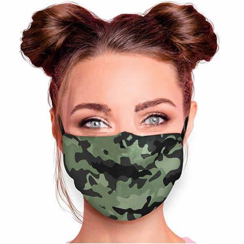 Verstelbaar mondkapje met print camouflage
