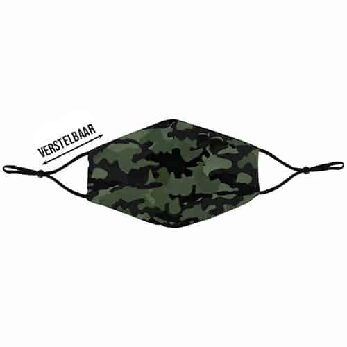 Verstelbaar mondkapje met print camouflage voor