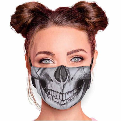Verstelbaar mondkapje met print skull