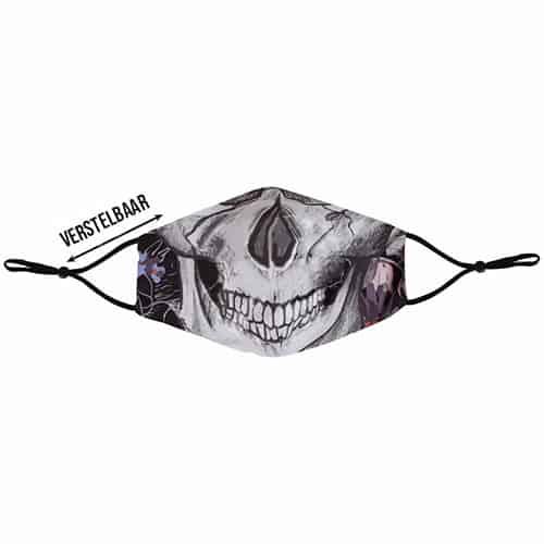Verstelbaar mondkapje met print skull voor