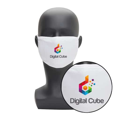 Wasbaar wit mondkapje met logo